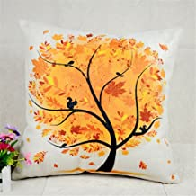 Onker Cotton Linen Square Decorative Throw Pillow Case Cushion Cover 18 x 18 Season Tree Series Fall
