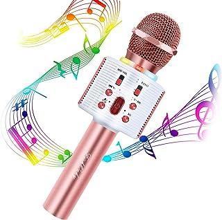 Microphone Karaoké Bluetooth, FISHOAKY 4 en 1 Micro Enfant pour Chanter Fille Garcon Avec Lumières LED Enregistrement Micr...