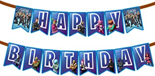 Gaming Happy Birthday Party Banner With Blue Personalized Birthday Flags Banner For Birthday Party Decoration