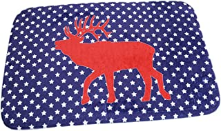 HS Blue Red Deer Cartoon Doormat Christmas Mats Entrance Mat Floor Mats Rug for Indoor Outdoorr Bathroom40 x 60cm