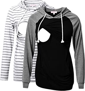 Bhome 2pcs Nursing Shirt Long Sleeves Hoodie Breastfeeding Top Sweatshirt