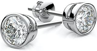 14K White Gold Bezel Set Round Diamond Stud Earrings, 0.216 ct. t.w. (VS/F-G)