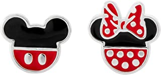 Mickey and Minnie Mouse Mismatched Silver Plated Stud Earrings, Mickey's 90th Anniversary