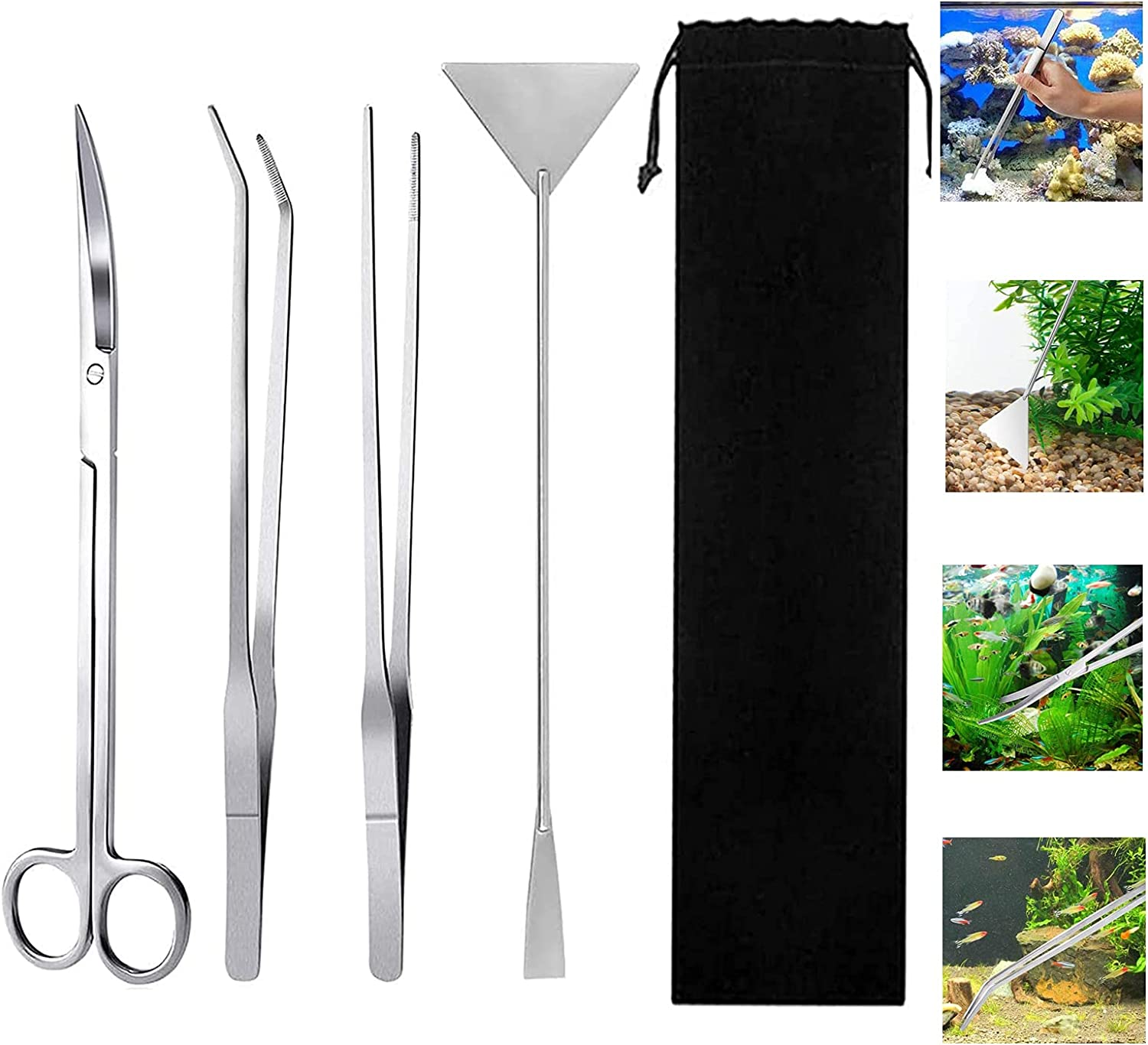 DFsucces New Free Shipping Aquarium Scissor Tweezers Tool 4 in A Steel Stainless 1 Omaha Mall