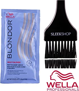 Wella BLONDOR MULTI BLONDE Dust-Free POWDER LIGHTENER for Multiple Clear Blonde Results, Tri-Lightening Complex (with Sleek Tint Applicator Brush) (1.0 oz/30 g - packette)