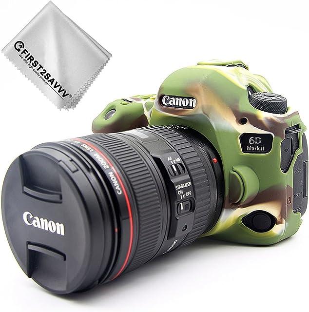 First2savvv Verde Cuerpo Completo Caucho de TPU Funda Estuche Silicona para cámara para Canon EOS 6D Mark II 6D MK II + paño de Limpieza XJPT-6D Mark II-GJ-06G11