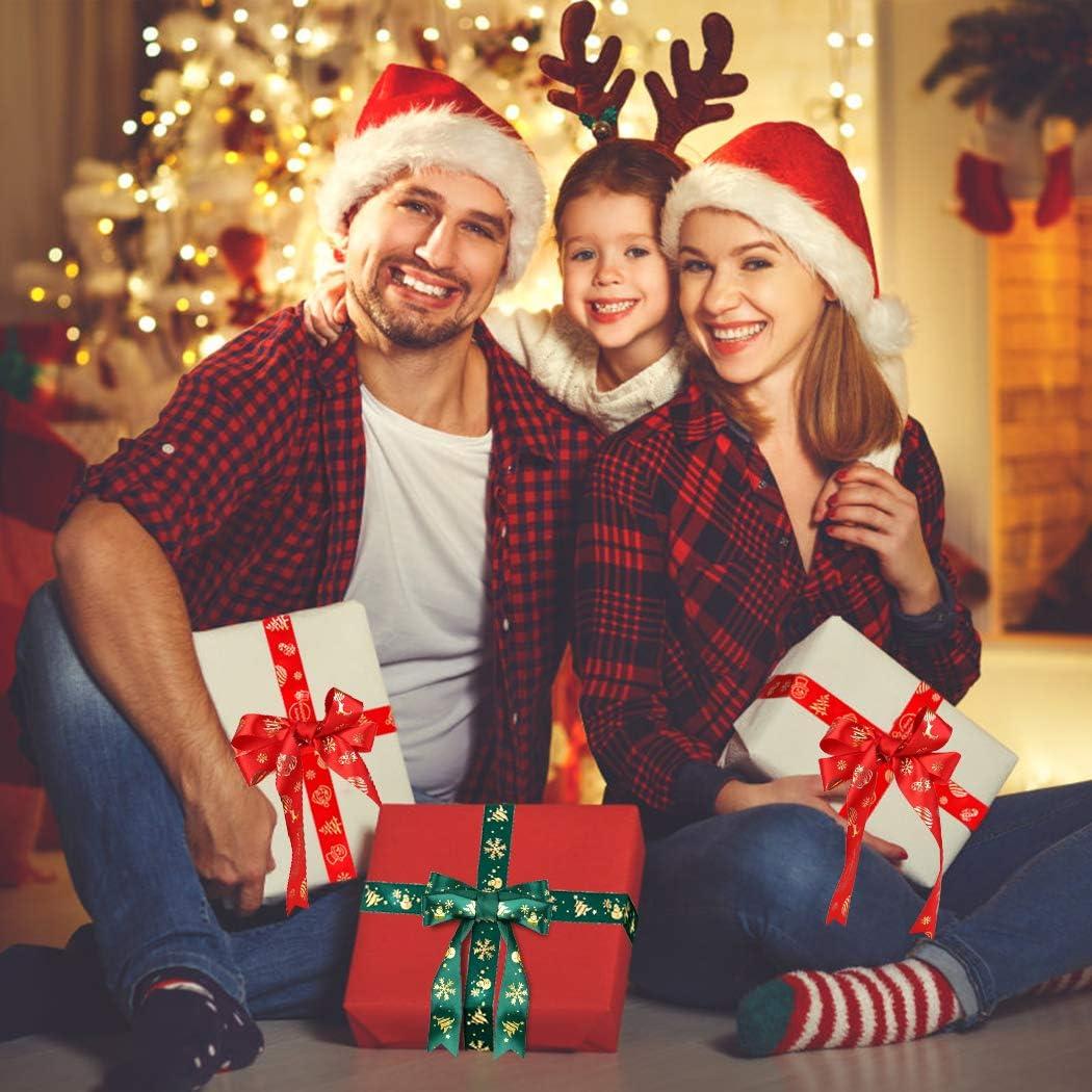 Fansport Cinta De Navidad Con Alambre,Grosgrain Cinta De Tela Rollos Cintas Impresas Para La Decoraci/ón De Navidad Arbol De Navidad Con Cinta Envoltura De Regalos