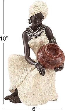 Deco 79 Benzara 44694 Table Top Polystone African Figure Sculpture