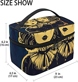 GIOVANIOR Gothic Witchcraft Siamese Twins Large Cosmetic Bag Travel Makeup Organizer Case Holder for Women Girls