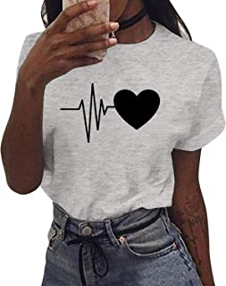 UMIPUBO Camiseta de Manga Corta Corazón Impresión Blusa Camisa Cuello Redondo Basica Camiseta Suelto Verano Tops Casual Fi...