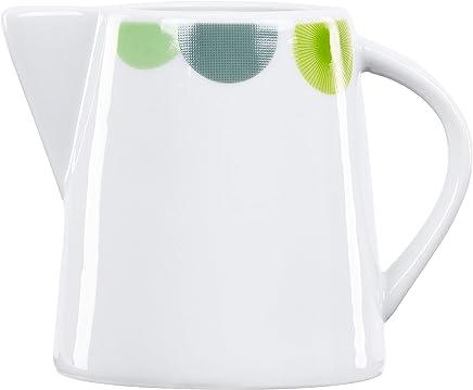 Preisvergleich für Van Well | Milchkännchen Rondo | 220 ml | Milch-Gießer | edles Servier-Kännchen | abstrakte Retro-Kreise grün-gelb | edles Porzellan-Geschirr