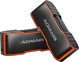 [2-Pack] AOMAIS Sport II Mini Portable Bluetooth Speakers - Dual Stereo Pairing Wireless Speaker, 20W HD Sound and Rich Bass, 15H Playtime, IPX5 Waterproof Speaker for Travel, Beach, Shower (Orange)