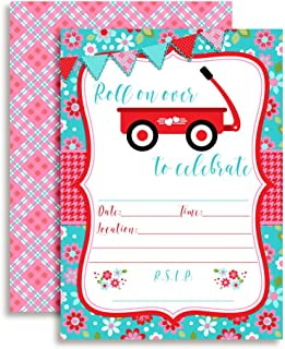 Little Red Wagon Girl Birthday Party Invitations, 20 5