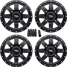 RockTrix RT106 14in ATV Wheels Rims 14x7 Matte Black | 4x137 | 5+2 Offset | includes 10x1.25 Spline Lug nuts | for Kawasaki Teryx Mule Can-Am Maverick Commander Renegade Outlander 4/137 - Set of 4