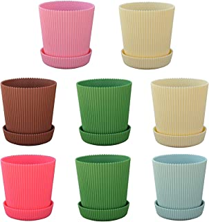 Luxehome Colorful and Strong Flowers Pot with Saucer,5.3 Inch Diameter,Set of 8