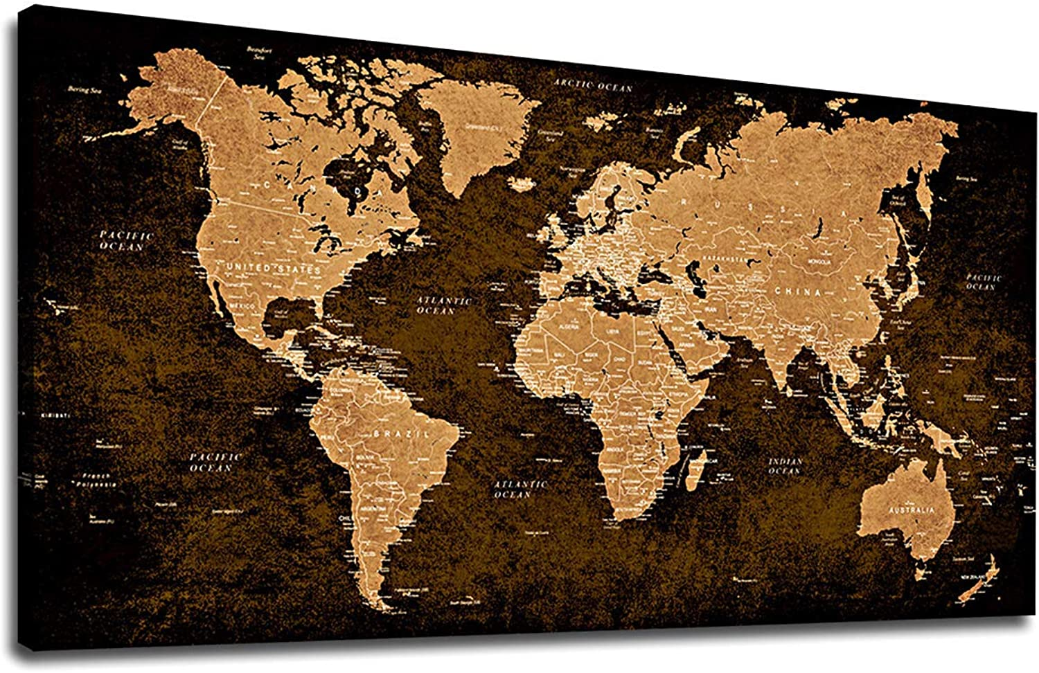 Vintage World Map Wall Art Bedroom Living Room Decoration 20  x 40  Canvas Wall Art Antiqued Map of The World Painting Prints Modern Artwork Picture for Office Home Wall Decor