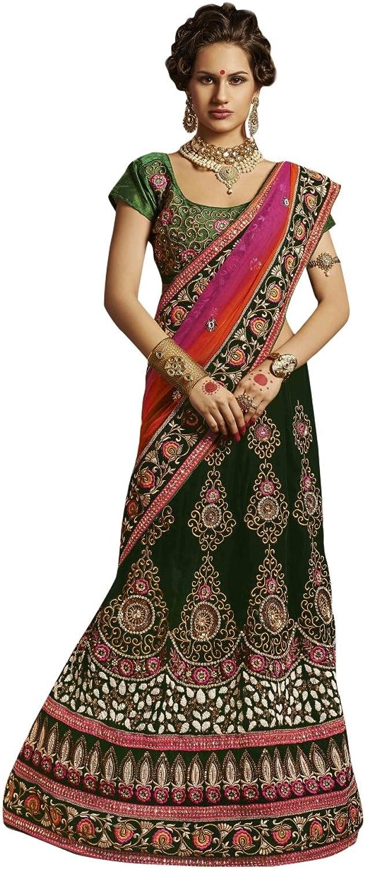 Triveni Indian Glamgoldus Embroidered Wedding Wear Net Velvet Wedding Lehenga Saree