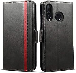 Huawei P30 Lite ケース 手帳型 P30 Liteカバー - Rssviss サイドマグネット カード収納 横置き機能 ストラップ通し穴 高級PUレザー P30ライト ケース 財布型 (Huawei P30 Lite用) W5 ブラック