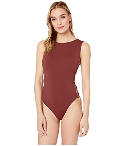 Seafolly Ring Side High Neck Maillot (Plum) Women