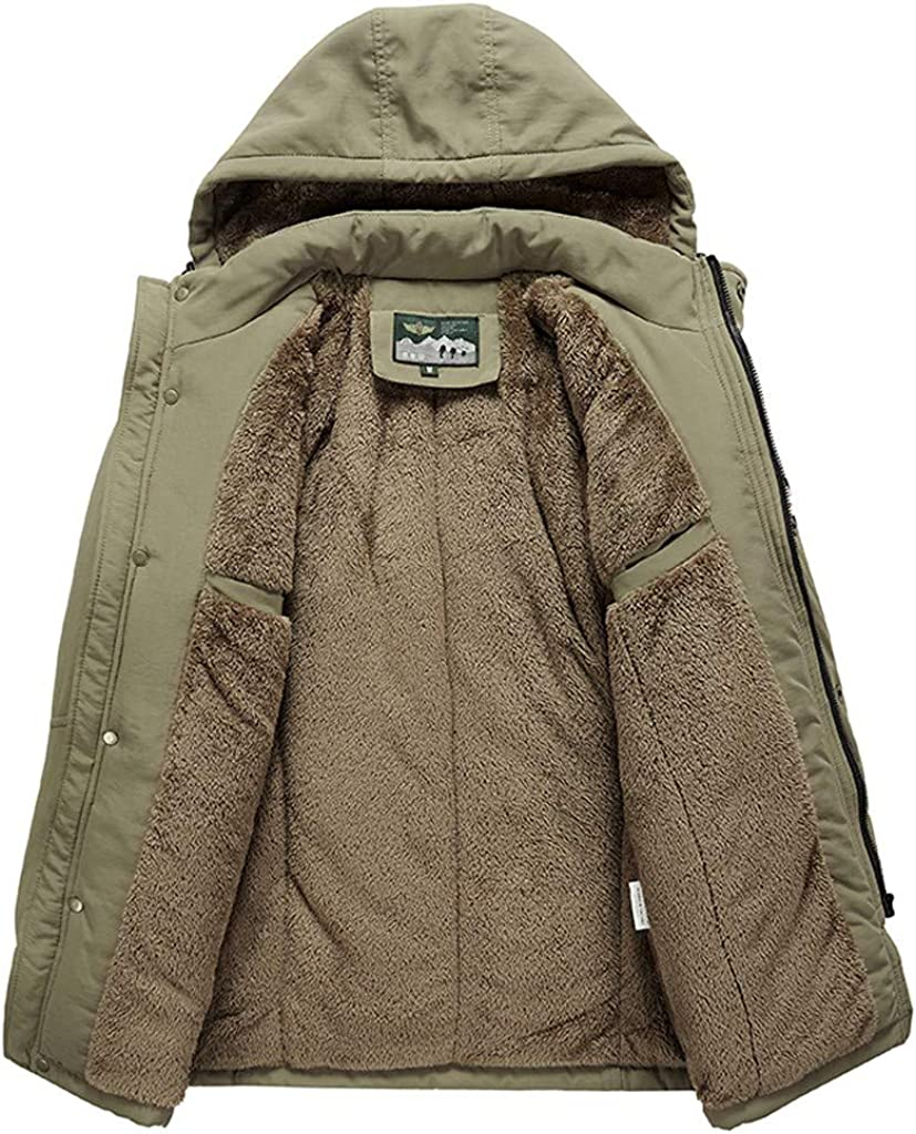 DIOMOR Outdoor Casual Fleece Lined Down Coat with Removable Hood for Men Winter Cargo Quilted Snow Jacket Thicken Parkas