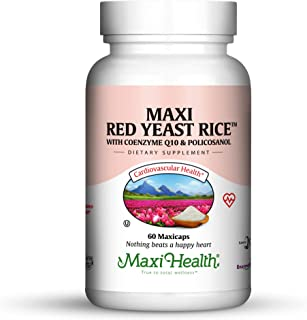 Maxi Health Red Yeast Rice - with Co Q10 - Cholesterol Support - 60 Capsules - Kosher (Pack of 24)