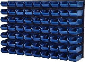 Wandrek Opslag Plank Gereedschapswand Stapelboxen Wandpaneel Workshop Magazijn + 63 kuvetten 117 x 210 x 75 mm (Blauw)