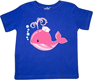 inktastic Cute Pink Whale in Nautical Hat Toddler T-Shirt