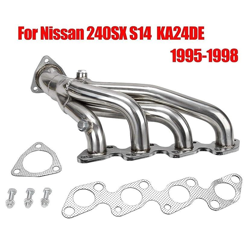 Racing Performance Short Exhaust Manifold Header Stainless Steel 4-1 Design for Nissan 240SX S14 1995-1998 KA24DE