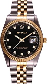 Luxury Unisex Gold Crystal Quartz Calendar Gold Silver Two Tone Stainless Steel Watch