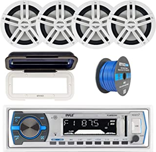 """Pyle Single DIN Marine Boat USB/SD Bluetooth Stereo Receiver w/Waterproof Cover Bundle Combo with 4 x Enrock 6.5"""" Full-Ran... photo"""