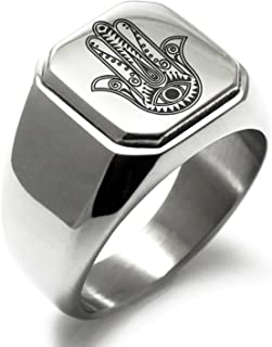 Stainless Steel Evil Eye Hamsa Hand of Fatima Symbol Square Flat Top Biker Style Polished Ring