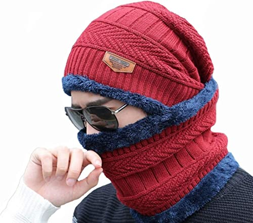 Men s Women s soft spun acrylic Winter Beanie Cap Neck Scarf Set Warm Knitted Fur Lined 2 Pieces red