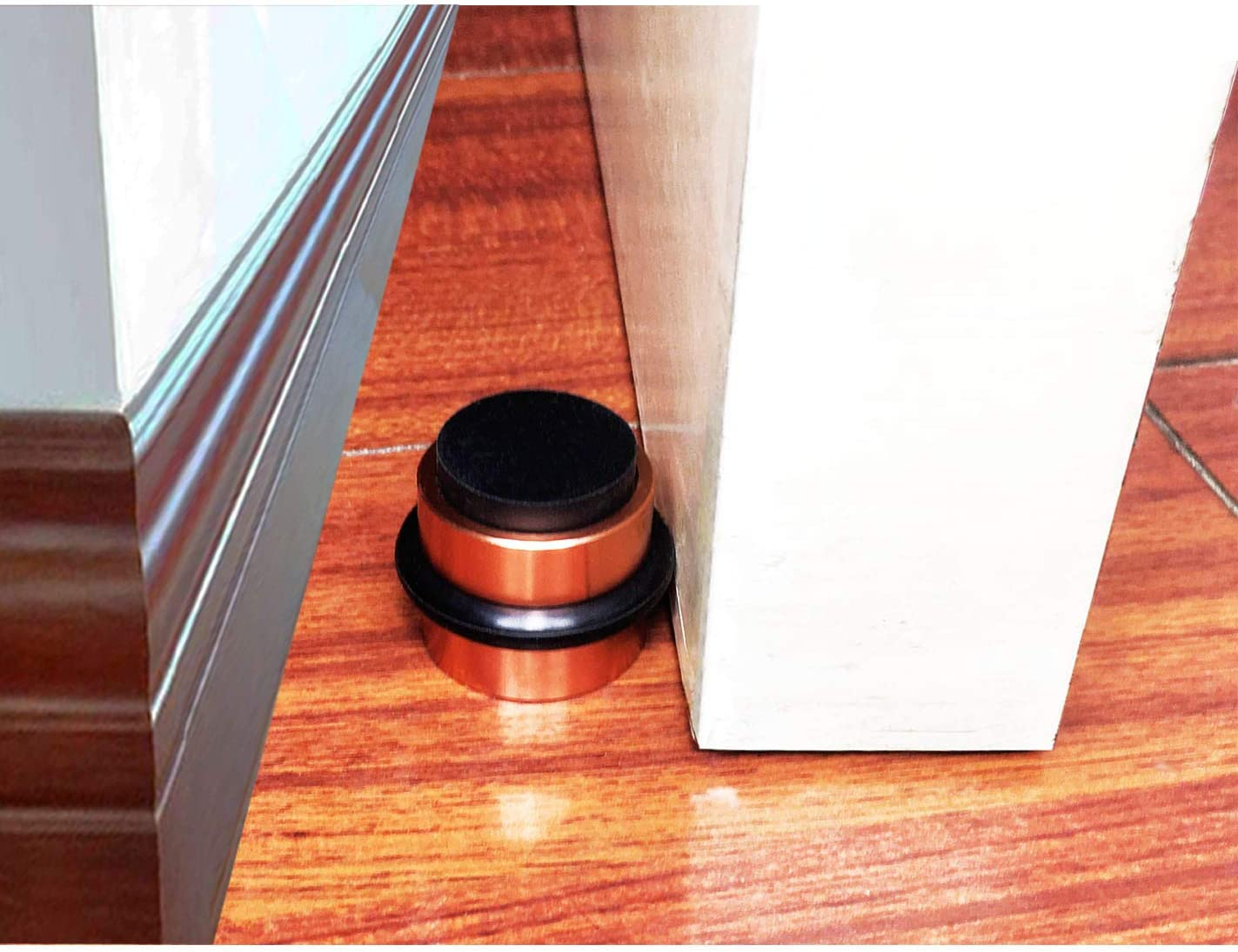 Rubber Bumper Premium Top Durability with Silica Gel Treads Aluminum Alloy Cylindrical Door Stopper Stylish Decorative Door Stop for Draft Stopping and Floor /& Wall Safety-Copper-C with Screws