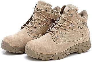 Botas para actividades al aire libre, para hombre, estilo militar, con cordones, transpirables, caña baja, cremallera lateral, piel, color caqui