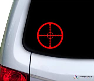 Southern Sticker Company Cross Hairs Gun Scope Target 3.9x3.9 inches Size Rifle Hunting Decal Vinyl Laptop car Window Truck - Made and Shipped in USA (red)