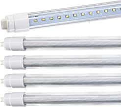 JESLED 360 Degree T8 T10 T12 8ft 52w R17D/HO Base, led Outdoor Tubes for Double Sided Signs 6000K Cool White Clear Cover (4-Pack)