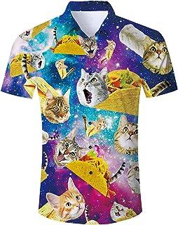 Goodstoworld Mens Casual Shirts Funky Colourful Graphic 3D Printed Short Sleeve Hawaiian Shirts Holiday Overshirt S-XL