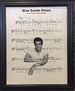 Ready Prints Blue Suede Shoes Elvis Presley Music Sheet Artwork Print Picture Poster Home Office Bedroom Nursery Kitchen Wall Decor - unframed