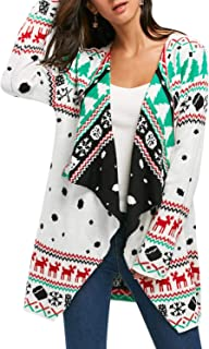 Pink Queen Women's Christmas Knit Open Front Long Sleeve Cardigan