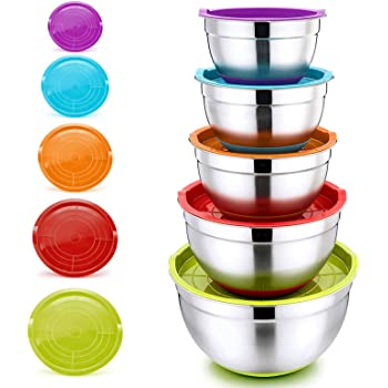 Mixing Bowls with Lids, P&P CHEF Stainless Steel Mixing Salad Bowls, Size 8/5/3/2.5/1.5 QT, Great for Mixing Storing Prepping, Clear Measurement Marks & Colorful Non-Slip Base