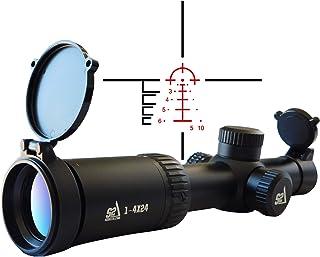 S2Delta 1-4X24 Carbine Scope, Red Dot Scope, Illuminated 5.56 BDC Reticle, 30mm Main Tube, SFP, Capped Turrets