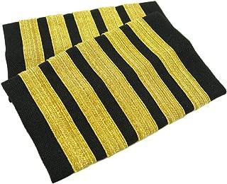Egolets, 5 Stripe Novelty Pilot Epaulets (Gold Metallic on Black)