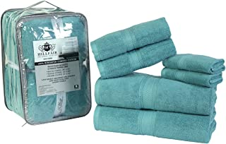HILLFAIR Premium 600 GSM 6 Piece Towel Set- 2 Bath Towels, 2 Hand Towels & 2 Washcloth - Aqua Cotton Bath Towels -Machine ...