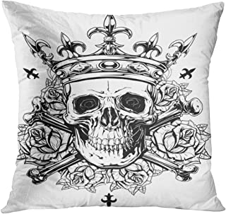 Wesbin Black and White Human Skull Crossed Bones Crown Roses Spikes New Living Hidden Zipper Home Sofa Decorative Throw Pillow Cover Cushion 20x20 Inch Square Both Sides Design Printed Pillowcase