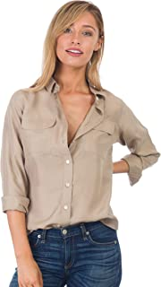 CAMIXA Women's 100% Pure Washed Silk Casual Button-Down Shirt Simple Luxury Must
