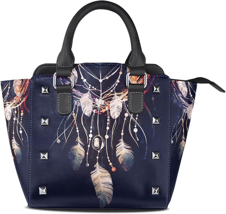 My Little Nest Women's Top Handle Satchel Handbag Boho Style Dreamcatcher Pattern Ladies PU Leather Shoulder Bag Crossbody Bag
