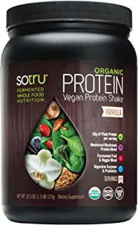 SoTru Vegan Protein Shake, Vanilla - 18.5 oz. - Whole Food, Plant-Based Protein Powder with Green Superfoods, Enzymes & Probiotics - USDA Certified Organic, Non-GMO, Gluten-Free - 21 Servings