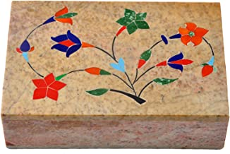 Hashcart Designer Marble Box - Floral Design Box Organiser for Girls (6x4 inch)