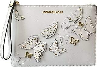 Michael Kors Butterflies Extra Large Zip Clutch Wristlet - Optic White
