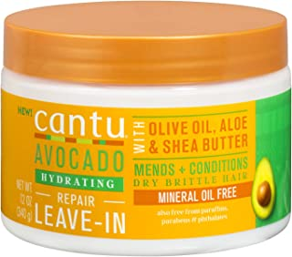 Cantu Avocado Leave in Conditioning Cream with Olive Oil Aloe Shea Butter, 12 Ounce